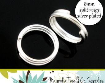 BULK Silver Plated Split Rings, 8mm Split Rings, 400 pcs, Double Loop Connector, Jewelry Finding Silver Jump Ring (SR840)
