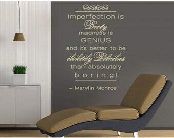 Imperfection is Beauty Marlyn Monroe wall decal, sticker, mural, vinyl wall art