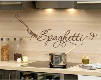 Spaghetti kitchen wall decal, sticker, mural, vinyl wall art