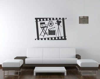 Film Strip Box & Cinema Wall Decal-Removable Wall Art Sticker-Movie Room-Home Theater