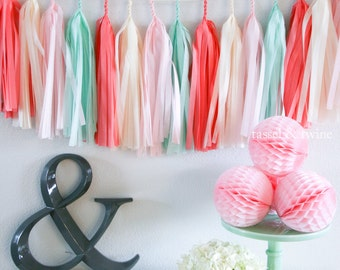Mint Blossom tissue tassel garland // wedding decor // nursery decor  // birthday party