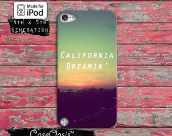 Cali Dreamin California Cute Sky Sunset Tumblr Custom Case iPod Touch 4th Generation or iPod Touch 5th Generation or iPod Touch 6th Gen Rubb
