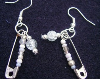 White Safety Pin Earrings