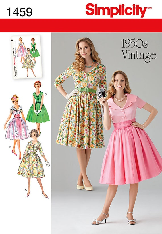 Simplicity 1459 Misses' & Miss Petite 1950's Vintage Dress