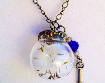Dandelion Seeds, Terrarium Necklace, Dandelion, Keys