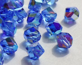 20 Rare Vintage Swarovski Crystal Beads, Article 38 Also Known As Article 5006, Sapphire With An Aurore Boreale Finish, 7mm Crystal Beads