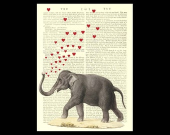 Elephant love. Art print on vintage encyclopedia page  *212 year old paper*