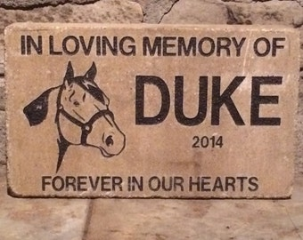 Personalized horse memorial marker stone