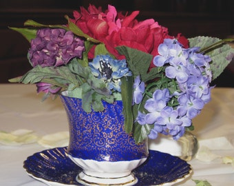 Wedding and Shower Centerpieces - Antique Teacup Alice in Wonderland Centerpieces with Silk Flowers