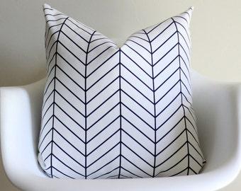 Navy Herringbone Throw Pillow Cover
