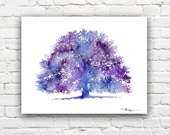 Purple Oak Tree Art Print - Abstract Watercolor Painting - Wall Decor