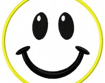 Smiley Face Applique Embroidery Design