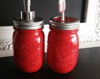 Red Ball Mason Jar Soap Dispenser or Toothbrush Holder