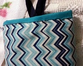 Blue Chevron Car Trash Bag Holder