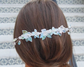 OOAK Handmade Bridal Veil Comb with Hand-wired Czech Glass Flowers and Leaves and Swarovski Crystals #468
