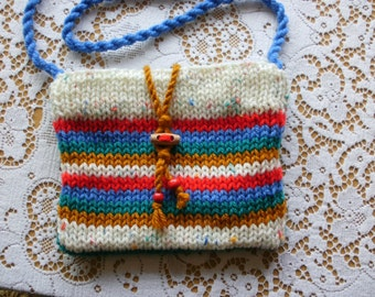 Cross body bag, across body bag, small, knitted. Fully lined, colourful, multicoloured, red blue jade yellow. Festival. Women, teens, girls.