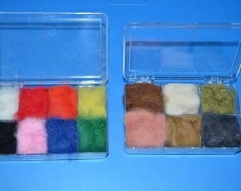 14 color assortment of rabbit dubbing- fly fishing material brights/natural tones(#592)