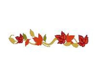 BUY 2, GET 1 FREE - Fall Leaves Flourish Filled Machine Embroidery Design - Fall Colors, Great Border - Line of Leaves