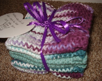 Dishcloths- Hand-knit Set of 3 in Purple and Teal