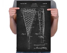 """Vintage 1936 """"Lacrosse Racket"""" Patent Drawing, Retro Art Print Poster, Canvas, Wall Art, Home Decor, Sport, Game Of Lacrosse, Gift Idea"""