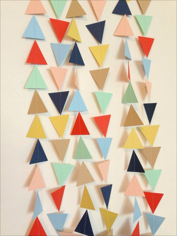 Mint, Tan, Red-Orange, Yellow, Navy, Light Blue, Blush Peach Triangle Garland. Geometric Garland. Paper Backdrop. Tribal Party. Baby Shower.