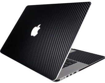 3M Black carbon Fiber, adhesive vinyl skin , Sticker for macbook Pro (front and Inside, no sides)