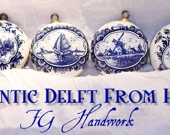 6 Authentic Delft Blue FG Handwork Collectible Ornaments – Made in Holland