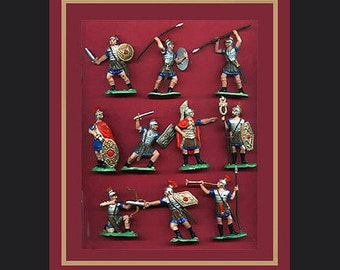 Reamsa Roman Infantry, 10 Toy Soldiers, Factory Painted, Vintage Production - New Unused - Mint