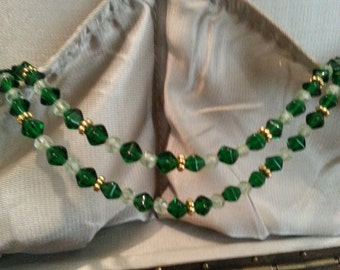 Beaded Necklace w/ Czech emerald green polished glass beads & gold filled daisy spacers with a magnetic clasp