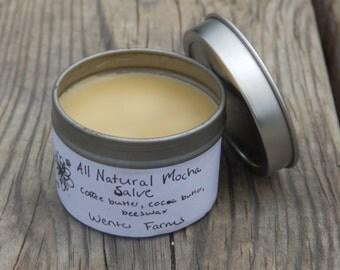 Mocha Salve, Lip Balm, Cuticle Cream, Hair Moisturizer, all natural salve