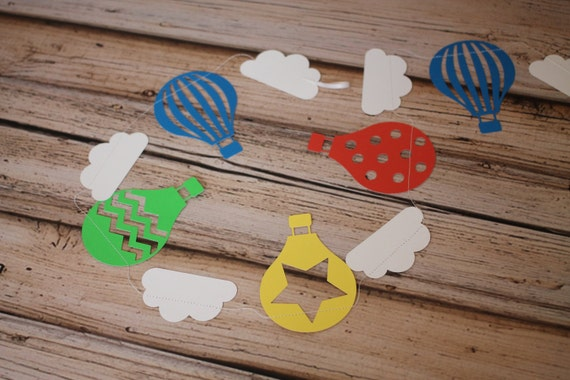 Red, blue, green, yellow Hot air balloon & Cloud Garland,Paper Garland, Party Garland, Paper Bunting Photo Prop Nursery decor playroom decor