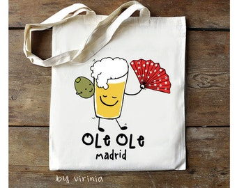 """illustrated bags """"MADRID FUNNY"""" as souvernir ideal gift!"""