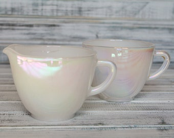 Federal Moonglow Creamer & Sugar Set