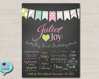 Birthday Keepsake chalkboard sign First Birthday Gift Favorite things Poster - PRINTABLE DIGITAL FILE - 11x14