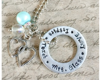 Personalized Necklace~ Hand Stamped Teacher Necklace~    Personalized Jewelry~ INSPIRE~LOVE~ TEACH~Perfect appreciation gift.
