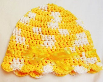 Hat with Bow and Ruffles, Girls 3-6 months, Spring, Summer, Pastel Yellow and White
