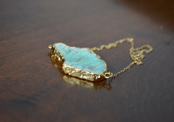 Flat Gold Edged Chrysoprase Necklace 14kt Gold Filled Chain