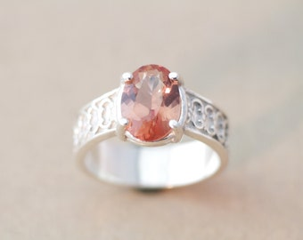 Oregon Sunstone Ring Set in Sterling Silver With a Beautiful Oval Gemstone