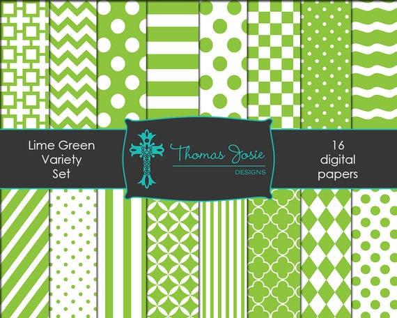 Lime Green Digital Paper Backgrounds Striped Digital Polka Dot Digital Chevron Digital Quatrefoil Pattern Paper 8.5 x 11 - Instant Download