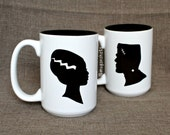 Bride Of Frankenstein and Frankenstein Silhouettes Set of 15 oz Ceramic Mug