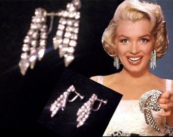 Sparkling vintage 80s cristals chandelier earrings Marilyn style
