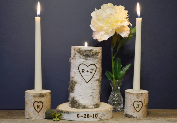 Personalized Unity Candle Set With Wedding Date Rustic Birch