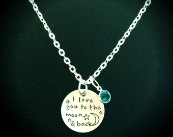 I Love You To The Moon & Back Personalized Birthstone Forever In My Heart Memory Necklace