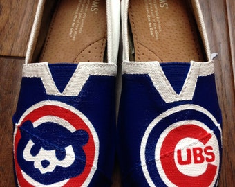 Custom Painted TOMS- Chicago Cubs