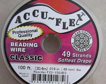100' Accu-Flex clear coated steel beading jewelry wire 49 strand .019 inch