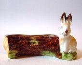 Vintage 1950s Kitsch Easter Bunny Rabbit Woodland Tree Posy Holder Trinket Dish Ornament