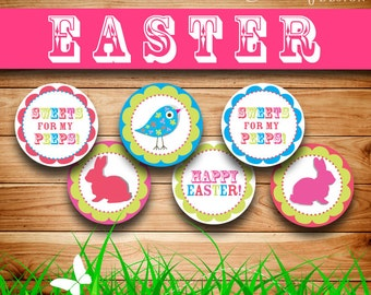 "Printable Easter decor: Easter cupcake toppers, Sweets for my peeps 2.5"", Easter gift tags, Happy Easter (Instant digital download - JPG)"