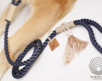 Blue dog leash. Stylish Nautical rope lead with Tassel and hemp bindings. Soft dog lead. Navy style.
