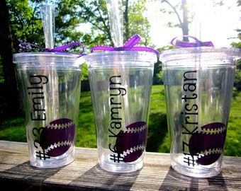 Girls Softball Tumbler with Name and Number- Great Team or Coach Gift