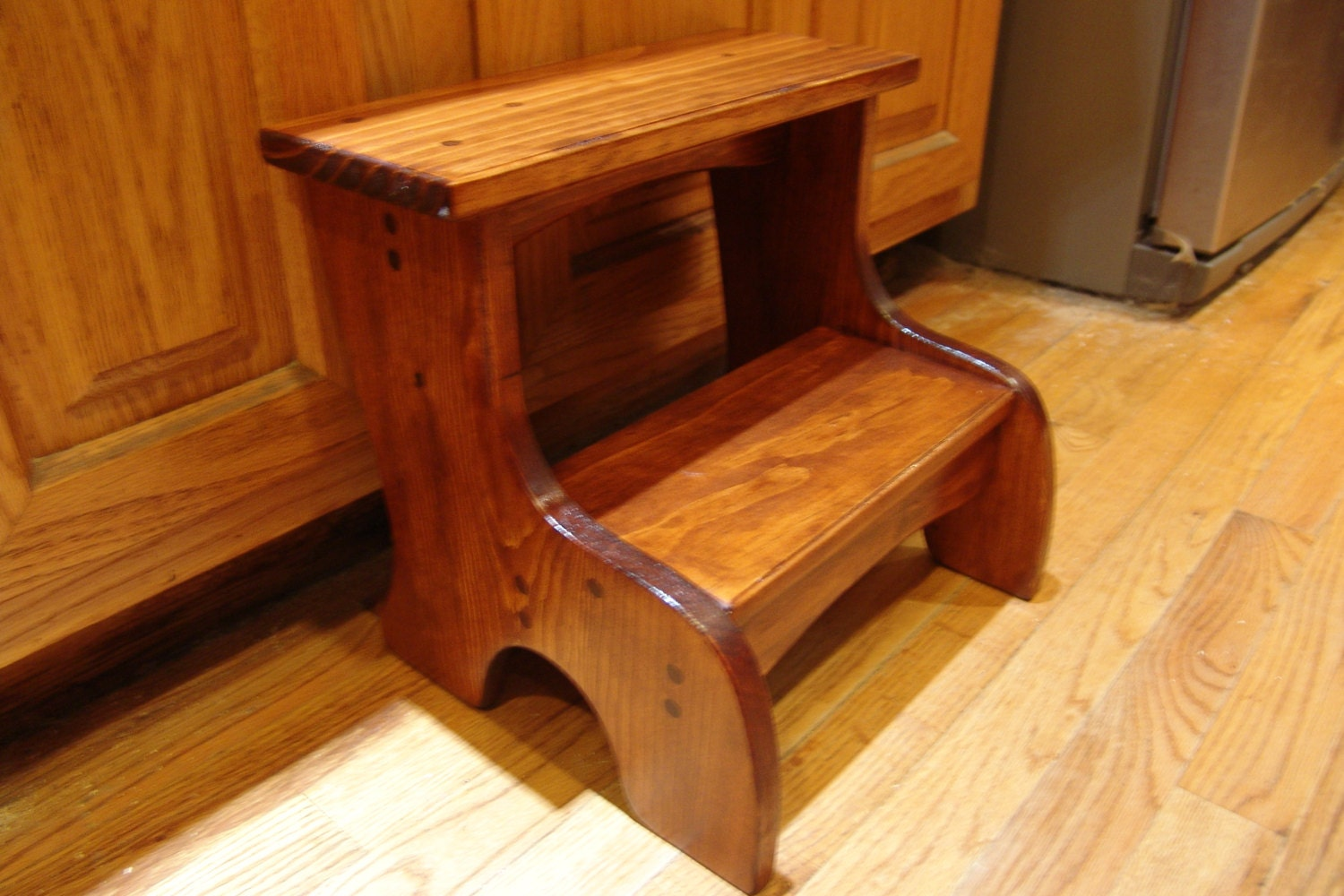 handcrafted heavy duty 2 step stool solid by windywoodswoodcraft. Black Bedroom Furniture Sets. Home Design Ideas
